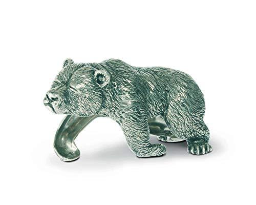 """Vagabond House Pewter Sleeping Bear Napkin Ring 4.25"""" Long Artisan Crafted Designer Ring"""