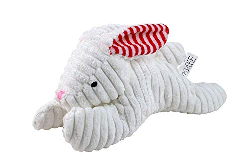 Midlee Stripe Ears White Easter Rabbit Dog Toy by