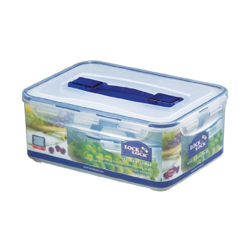 LOCK & LOCK 159-Fluid Ounce Rectangular Container with Handle and Tray, Tall, 19-1/2-Cup