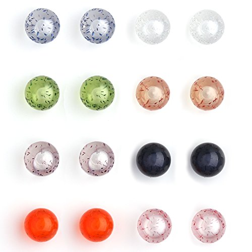 Acrylic Glitter Ring - Ruifan 16PCS 6mm Mix Color Glitter UV UV Acrylic Externally Threaded Replacement Balls Retainer Body Jewelry Piercing Barbell Parts for Lip Eyebrow Tongue Belly Navel Nose Nipple Ring 14G