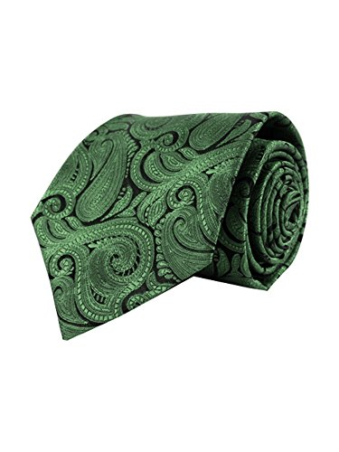 Men's Green Paisley 100% Microfiber Poly Woven Wedding Neck Tie