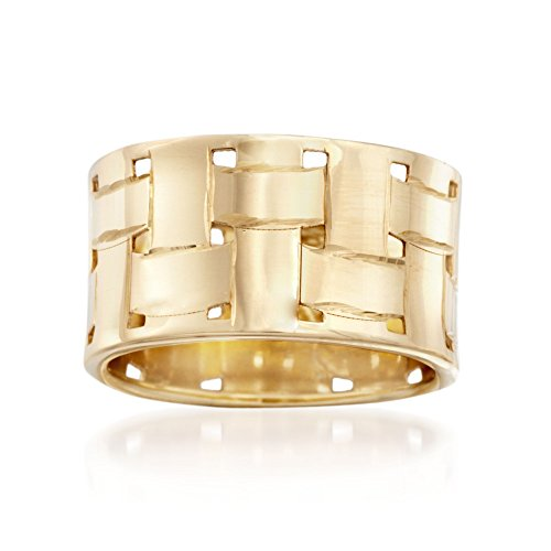 (Ross-Simons Italian 14kt Yellow Gold Basketweave Ring)