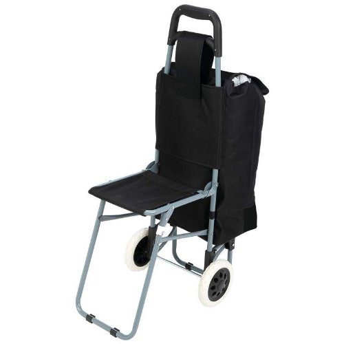 Maxam Trolley Bag with Folding Chair, Black