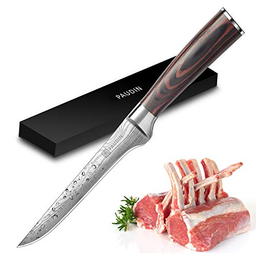 Fillet Knife - PAUDIN Pro 6 Inch Boning Knife German High Carbon Stainless Steel Knife with Ergonomic Handle, Ultra Sharp and Flexible