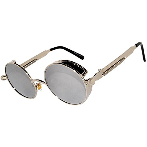 Steampunk Retro Gothic Vintage Hippie Silver Metal Round Circle Frame Sunglasses Silver Mirror Lens - Retro Silver Glasses