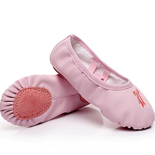 DubeeBaby Girls Ballet Slippers Shoes,Split Sole 3D Embroidery PU Leather Ballet Flats (Toddler/Little Kids/Big Kids/Adult) (US Little Kid 11.5M - Foot Length:6.89 inch/17.5cm, (Girls Leather Ballet Flats)