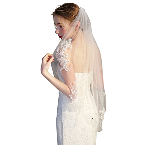 (Frcolor Elegent Lace Appliques Wedding Veil Crystal Beaded with Comb, Beige)