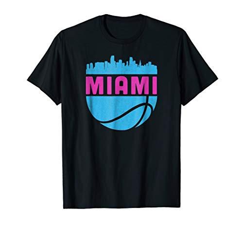 (Vintage Miami Florida Cityscape Retro Basketball T-Shirt)
