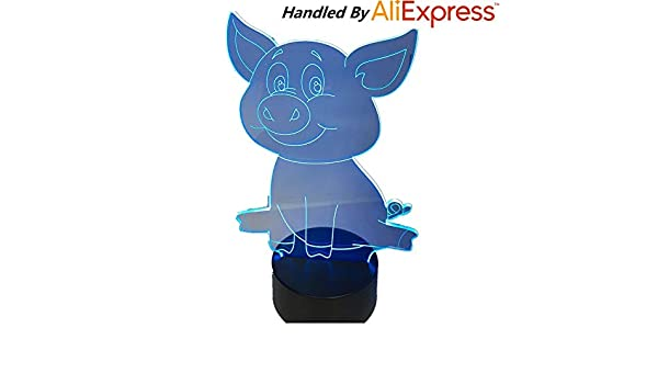 Lovely Cute Pig Night Light Pig Lámpara 3D Bulbing Touch Swithc ...