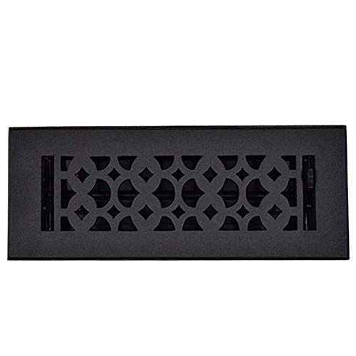 (Floor Register 3 X 10 Cast Iron, Ideal Home Décor Accessories, Hand Crafted, Sand Cast, Durable, Powder Coated and Heavy Duty Home Hardware Air Vent Cover with Metal Damper - Black)