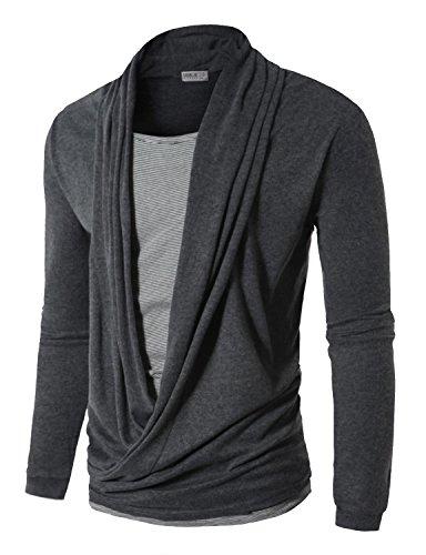 Doublju Mens Cardigan Style T-shirts GRAY (US-L)