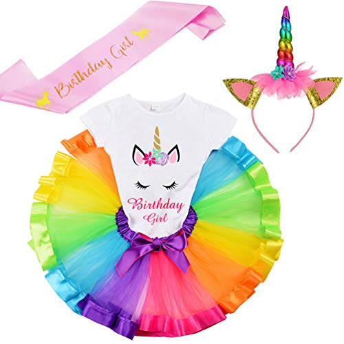 LYLKD Little Girls Unicorn Outfit Dress,Layered Rainbow Tutu Skirt,Unicorn T-Shirt and Unicorn Horn Headband. (Bday-Rainbow, XXL,6-7 Years) ()