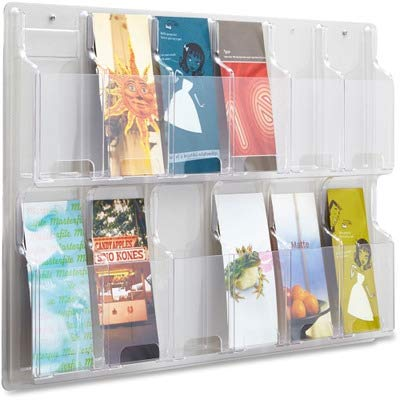 (Safco 12 Pamphlet Pocket Display Rack - 20.4quot; Height x 30quot; Width x 2quot; Depth - 12 Pocket(s) - Plastic - Clear)