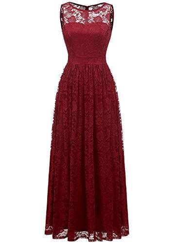 (Wedtrend Women's Floral Lace Long Bridesmaid Dress Party GownWTL10007B-DarkRedXXXL)