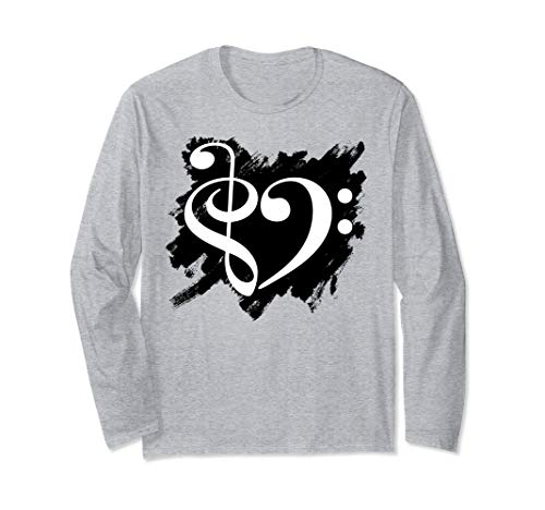 Treble Clef Bass Clef White Heart Grunge Brush Strokes Bassist Long Sleeve T-Shirt