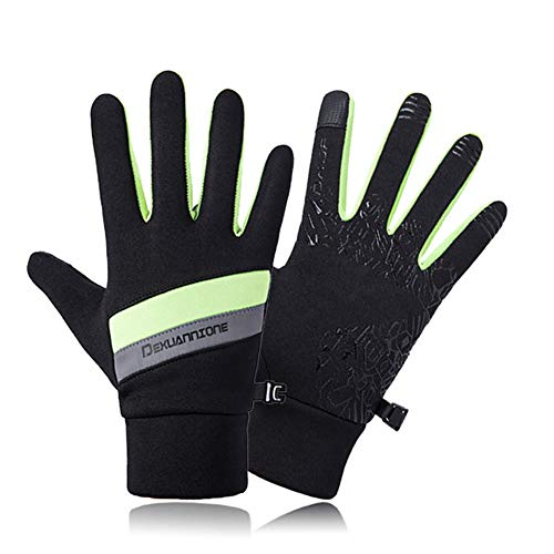 LAIABOR Outdoor Sports Windproof Gloves Unisex Winter Bicycle Cycling Bike Gloves with Smartphone for Men & Women,Green,M