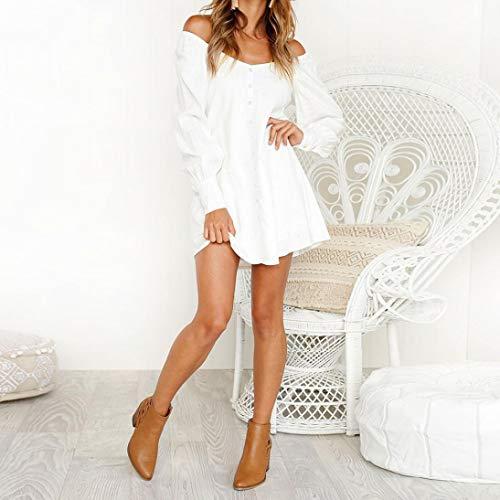 Tops Casual Corte Spalline Pullover Mini Con Camicette Maniche Abcone Bianco Abito Elegante Felpa Lunghe Corto donna Autunno Camicie qanRZw8