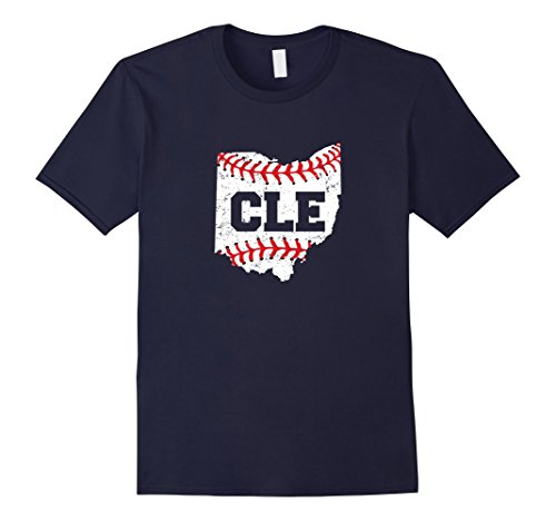 Mens Distressed Cleveland Ohio Baseball CLE T-Shirt Large Navy (Cleveland Indians Shirt)