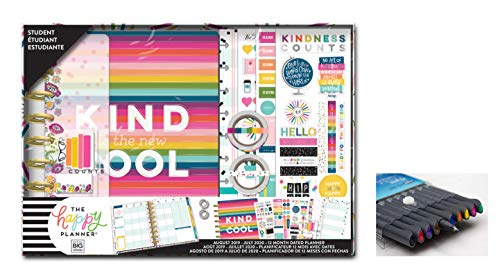 me & My Big Ideas Create 365 The Happy Planner, Medium/Classic Student Box Edition: Be Kind, 12 Month Planner, Aug 2019 - July 2020 Comes with Kemah Craft Fineliner 10 Pc Color Pens (Box-208)