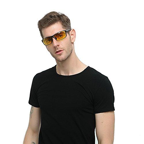 Mens HD Driving Polarized Sunglasses for Men Al-Mg Metal Frame Black-Yellow Lenses Black3
