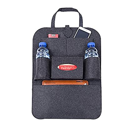 WINOMO coche asiento trasero Organizador Auto Multi-Pocket bolsas de almacenaje para respaldo asiento coche gris oscuro