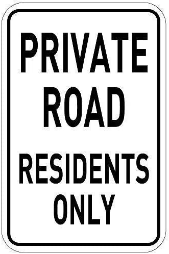 HNNT Metal Sign 8x12 inches Private Road Residents Only Sign,Funny Metal Sign,Warning Sign,Tin Sign Plate,Outdoor Yard Sign
