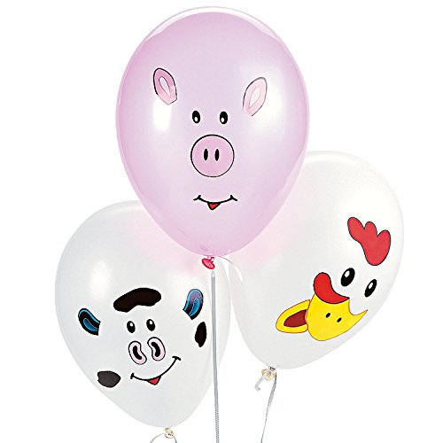 Make your Own Farm Animal Balloons (1 dz) (Cow Girl Party Decorations)
