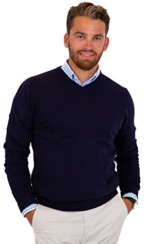 CANALSIDE Men's Fitted V-Neck Pullover Sweater Soft Merino Wool Cotton Knit,XLarge,Navy Blue -