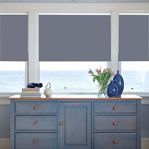 Kingmond Thermal Insulated 100 Blackout Sunscreen Waterproof Fabric Custom Window Roller Shades Blinds,74″ W x 44″ H,Grey