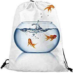 "Aquarium Nice Drawstring Bag,Goldfish Jumping Out of the Fishbowl Freedom Escape Challenge Bravery Theme Decorative For traveling,17.7""L inches x 14.1""W inches"