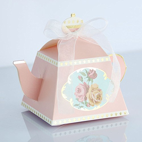 50pcs Teacups Candy Boxes, Tea Party Birthday and Baby shower Favor Box, Cute Tea Candy Boxes for Tea Time Party and Wedding Decoration (Pink)