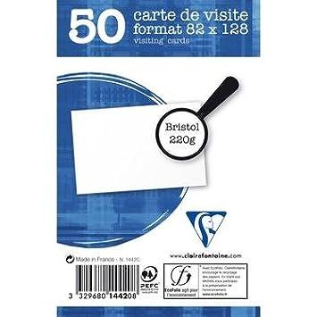 Sachet De 50 Cartes Bristol Blanc 82x128 220 G M