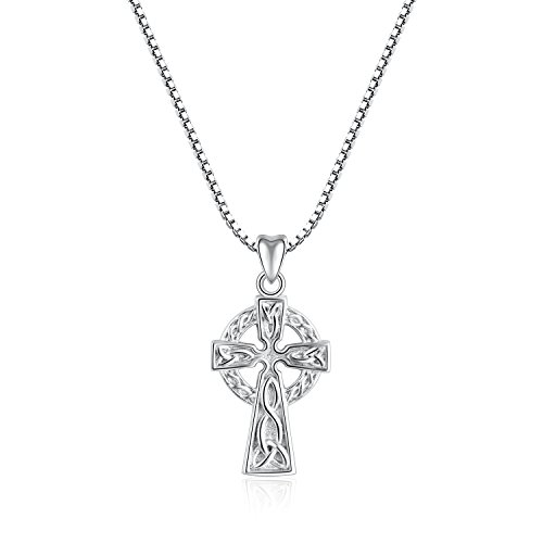 - Angemiel 925 Sterling Silver Good Luck Irish Celtic Cross Vintage Pendant Necklace Gift for Women Girl, Box Chain 18