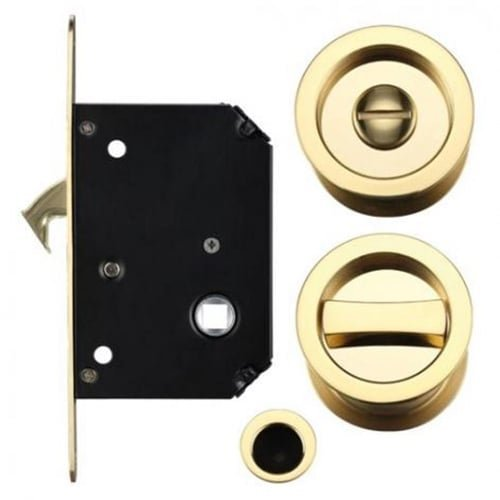 Bathroom Sliding Door Lock with Flush Edge Pull Handle Po...