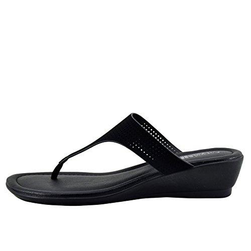 Staden Klassificerade Melton H Kvinna T-strap Halka På Sandal Svart
