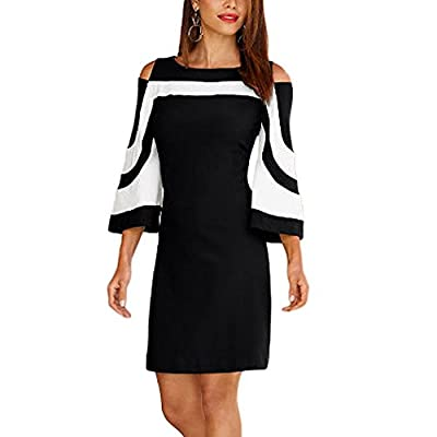 MuCoo Women's Cold Shoulder 3/4 Flare Sleeve Black White Colorblock Mini Dress