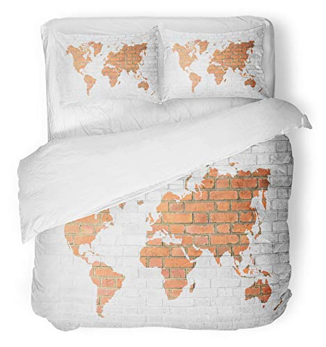 Emvency 3 Piece Duvet Cover Set Breathable Brushed Microfiber Fabric Red Brick Wall Tone White Color with World Map Outline of from NASA Public Domain Bedding Set with 2 Pillow Covers King Size -