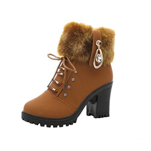 Saihui New Women Ladies Winter Warm Solid Plush Boots Martin Square Heels Shoes Brown