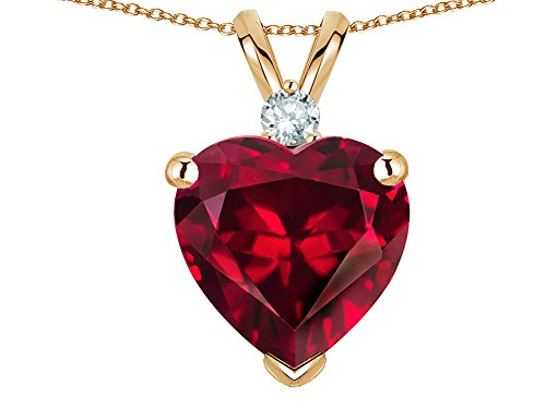 Star K 8mm Created Ruby Heart Pendant Necklace 14 kt Yellow Gold