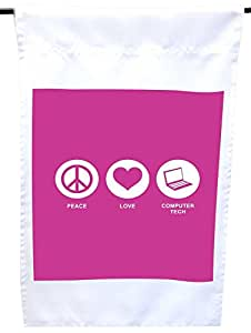 Rikki Knight Peace Love Computer Tech Rose Pink Color House or Garden Flag, 12 x 18-Inch Flag Size with 11 x 11-Inch Image