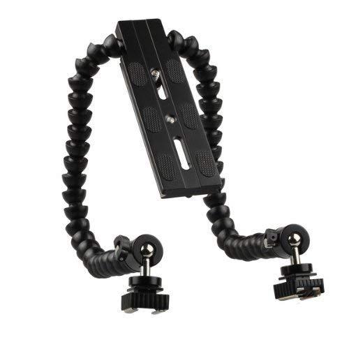 Olympus Bracket Flash - Runshuangyu Lightweight Flexible Video Arm Dual Hot Shoe Flash Mount Bracket Holder for Canon Nikon Sony Pentax Olympus Panasonic Camera