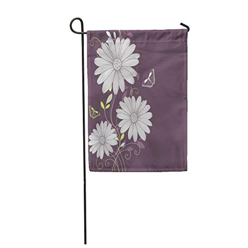 Semtomn Garden Flag 12x18 Inches Print On Two Side Polyester Butterfly Floral Flower Daisy and Butterflies Border Stencil Abstract Swirl Home Yard Farm Fade Resistant Outdoor House Decor Flag