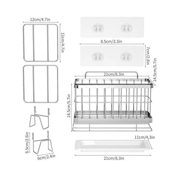 HapiRm Spülbecken Organizer Küchenorganizer, Spülutensilienhalter Schwammhalter 304 Edelstahl, Spüllappenhalter…