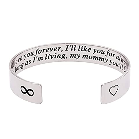 Melix Inspirational Jewelry, I'll Love You Forever Stainless Steel Bangle Bracelet Adjustable, Christmas Gift for - Mom Jewelry