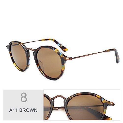 Polarizadas C19 Gafas De Unisex Gafas Sol De TIANLIANG04 Madera Redondas Similares BROWN A11 Uv400 Azul PCxBzwSq