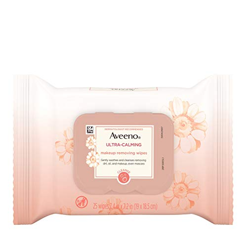 Aveeno Ultra-Calming Makeup Removing Facial Cleansing Wipes with Feverfew Extract, Oil-Free Soothing Face Wipes for…
