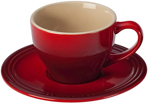 Color Mug Stoneware Full (Le Creuset Stoneware Set of 2 Cappuccino Cups and Saucers, Cerise (Cherry Red))