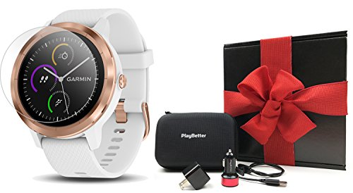 Garmin vivoactive 3 (Rose Gold) Gift Box Bundle | Includes HD Screen Protector (x2), PlayBetter USB Wall & Car Charging Adapters, Hard Case | Multi-Sport Fitness GPS Watch | Black Gift Box