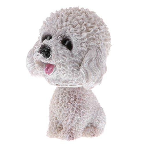 Baoblaze Sitting Up Bobbing Shaking Head Teddy Dog Puppy Bobble Head Animal Toy Car Home Decor Kid Gifts White