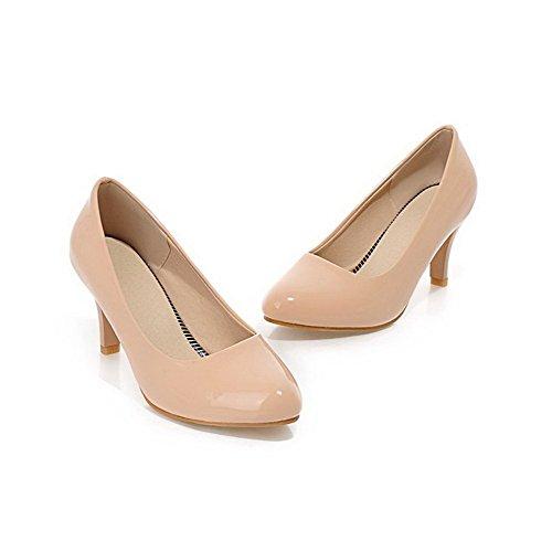 Amoonyfashion Donna In Pelle Verniciata Pull-on A Punta Chiusa Gattino-tacco Pompe-scarpe Albicocca